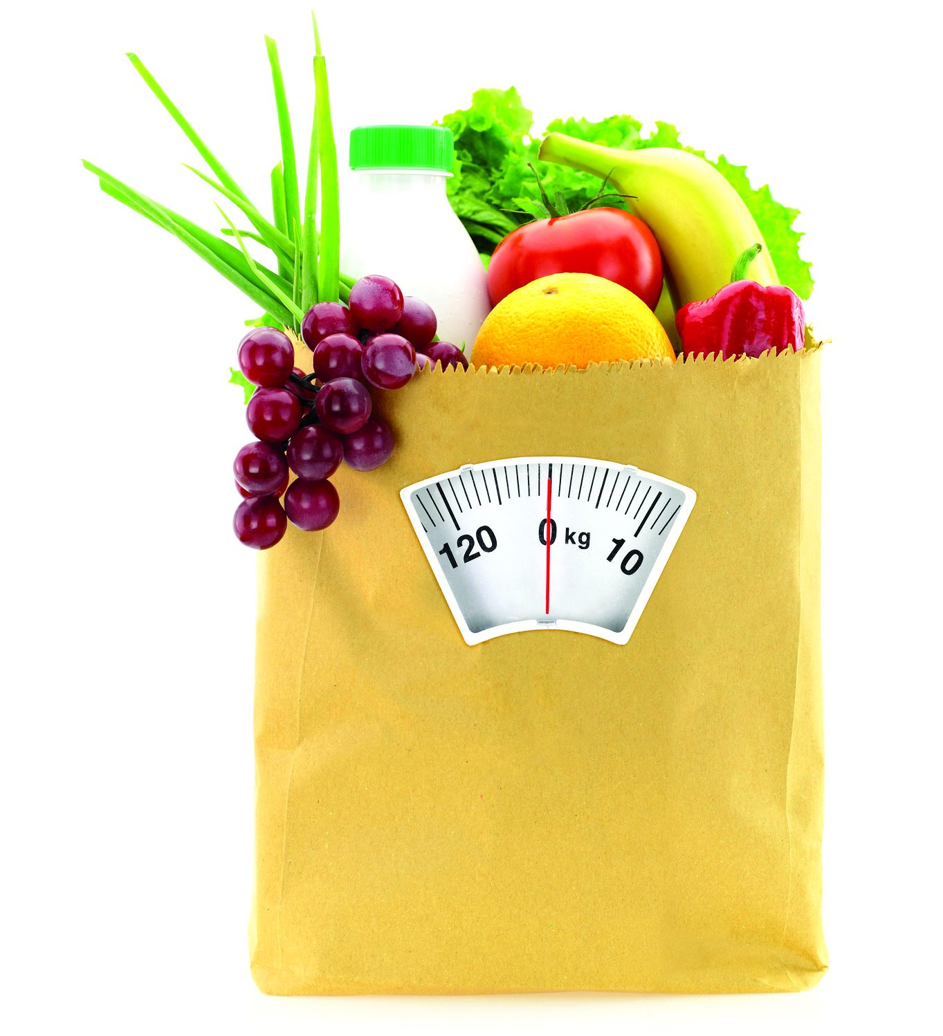 vegetables and fruits in a paper grocery bag