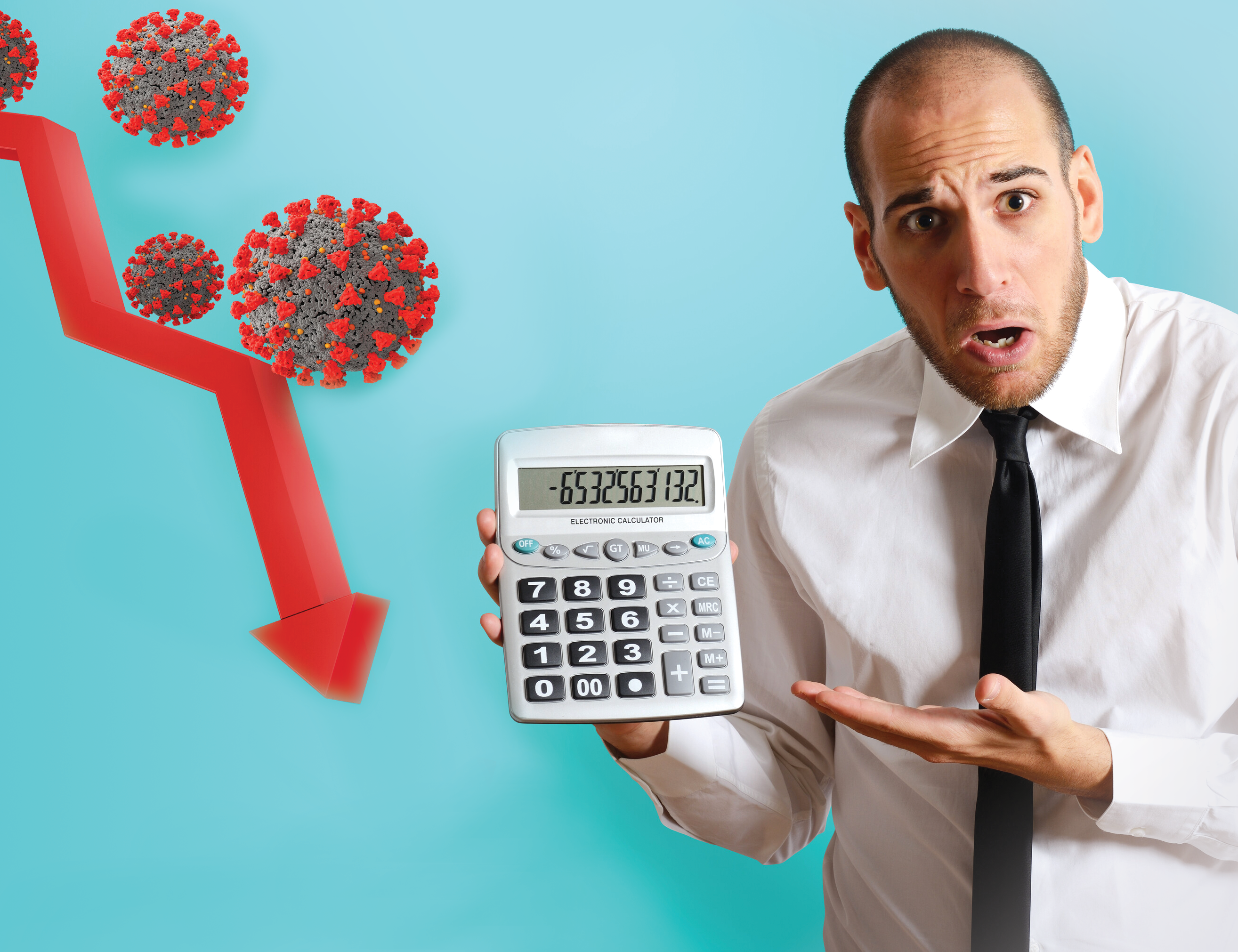 man pointing at a calculator looking shocked with a downwards arrow next to a cartoon of a virus