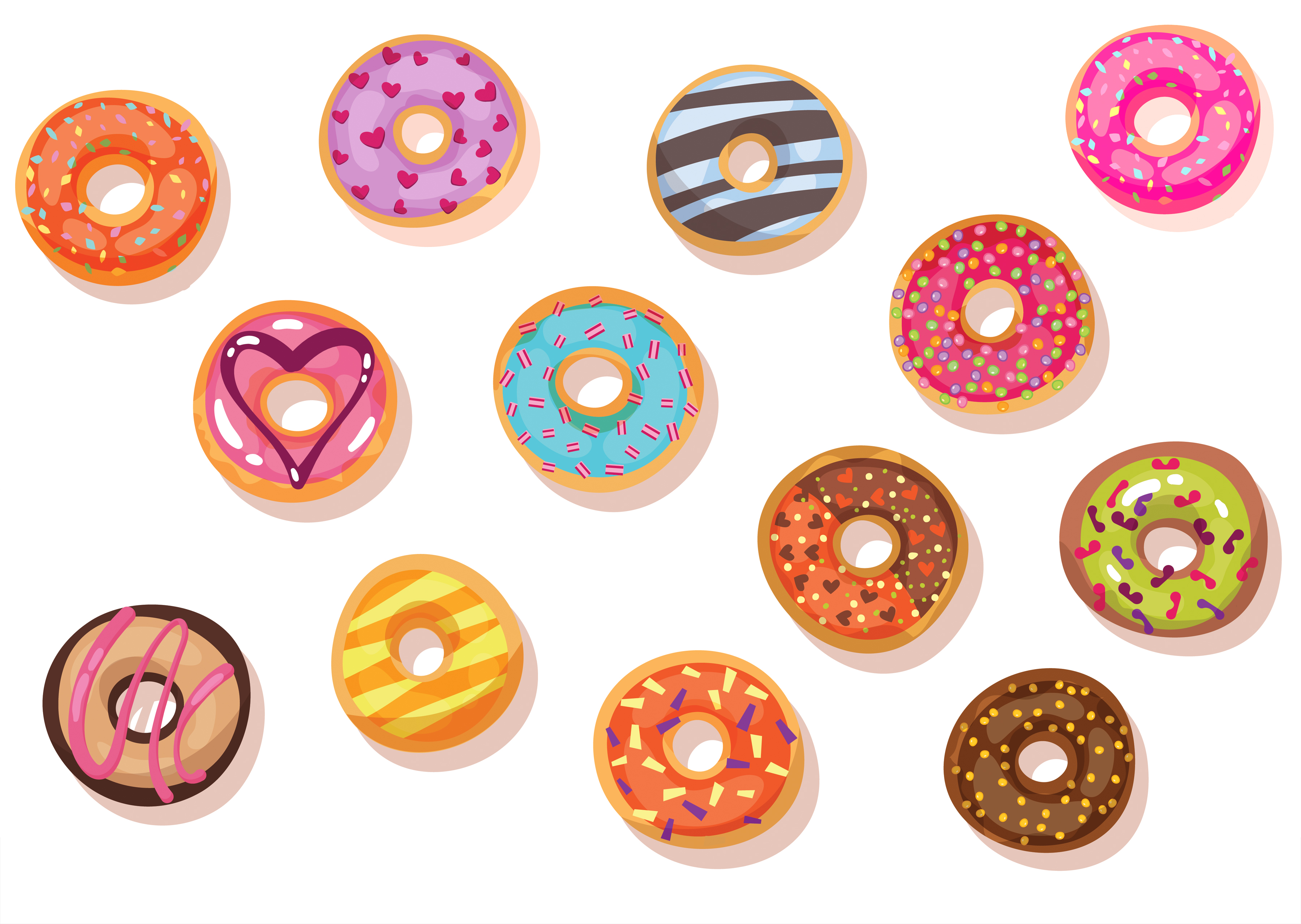 cartoon of doughnuts with multi-coloured glazes