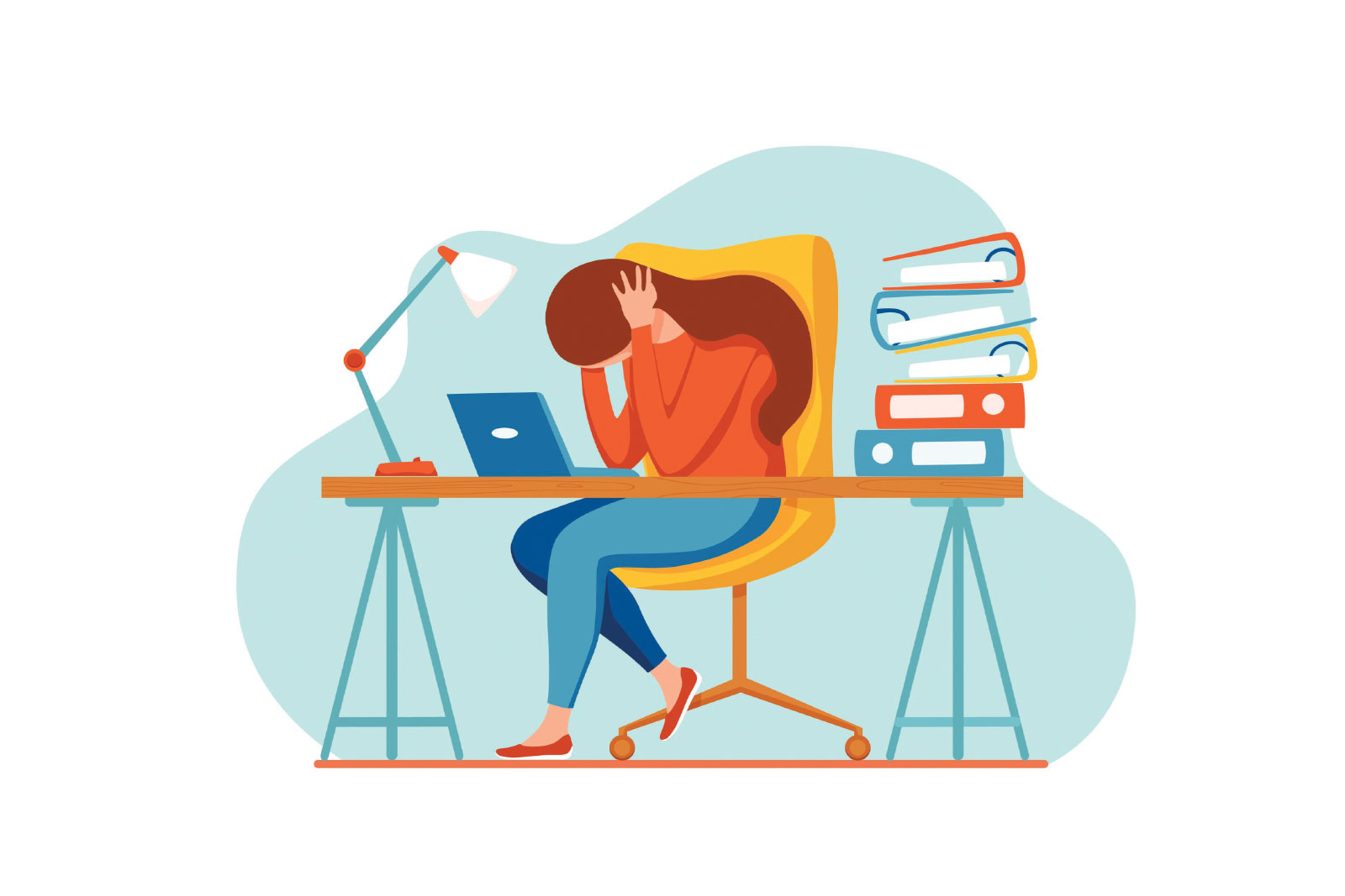cartoon of a girl sitting at a desk displaying signs of anxiety
