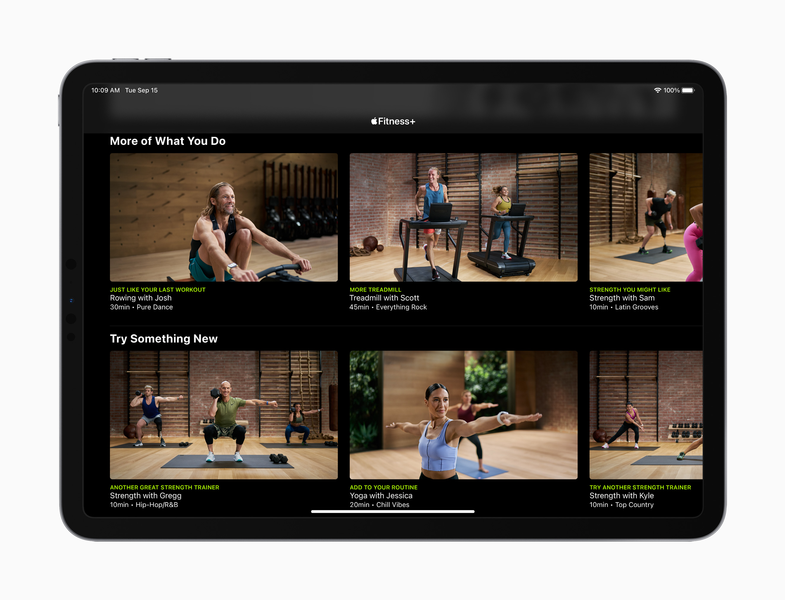 apple fitness program on iPad screen
