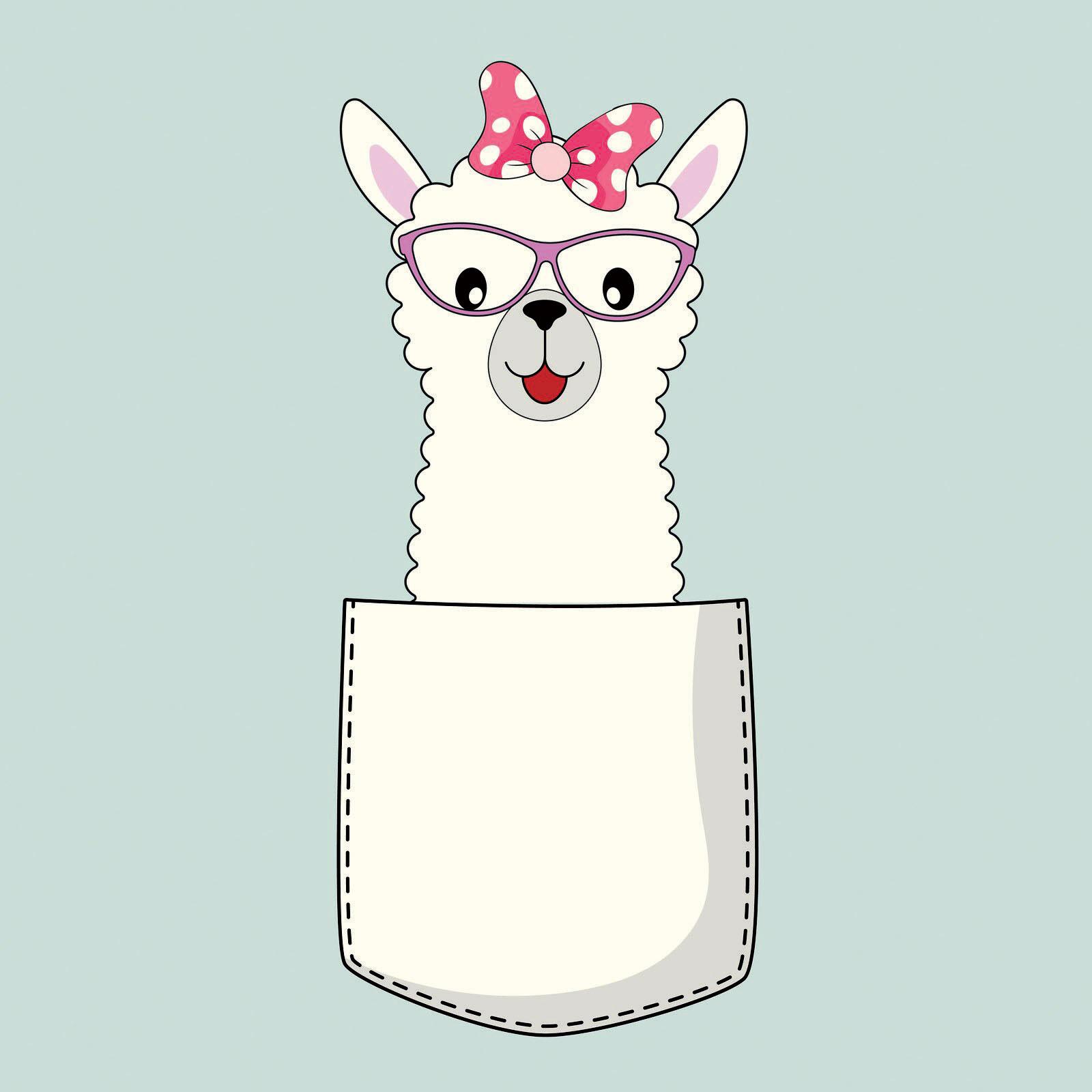 cartoon of a lama sitting in a pocket