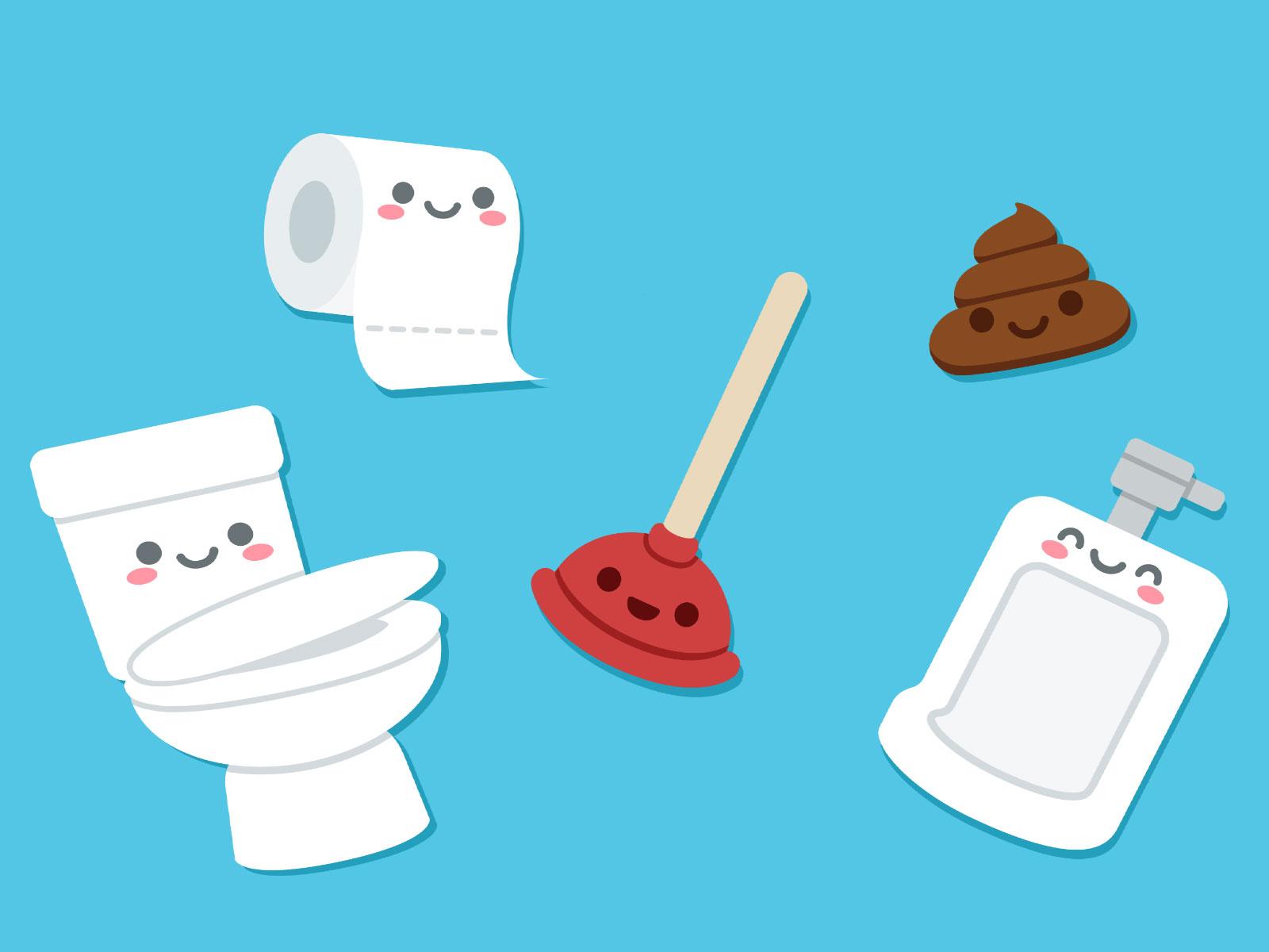 Cartoon, toilet, paper towel, urinal