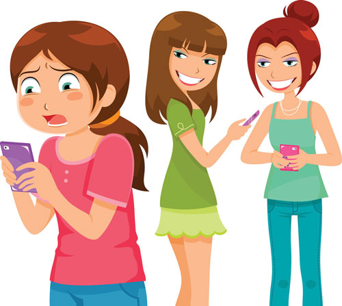 Cartoon of two girls sending a mean text about a third girl