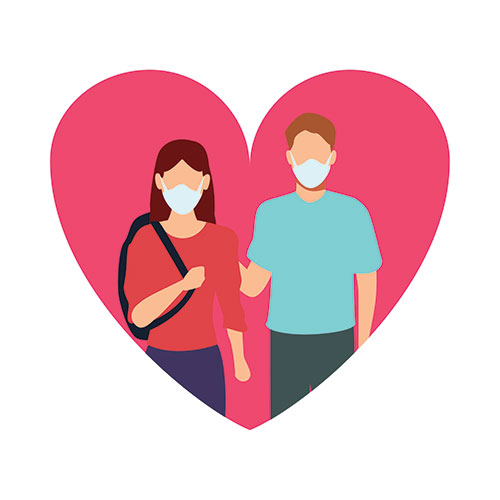 cartoon of a man and a woman wearing masks in a heart