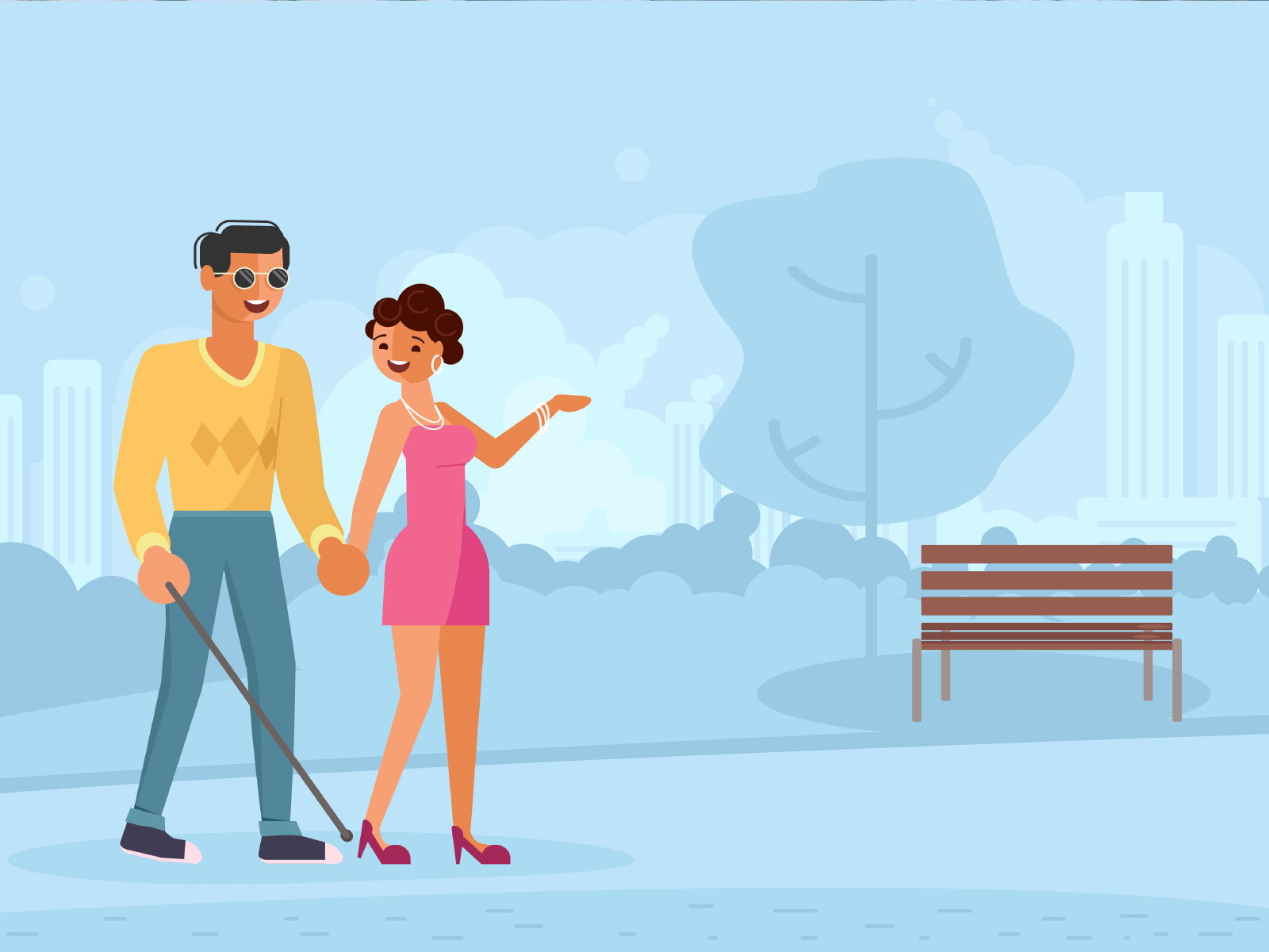 Cartoon of man and woman walking in a park, man has a walking stick