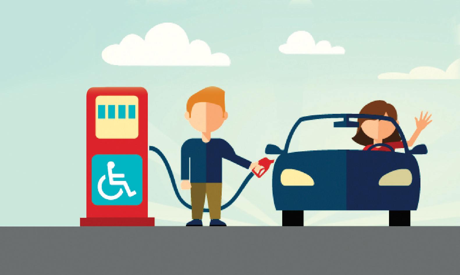 Cartoon man filling up a car at an accessible gas pump