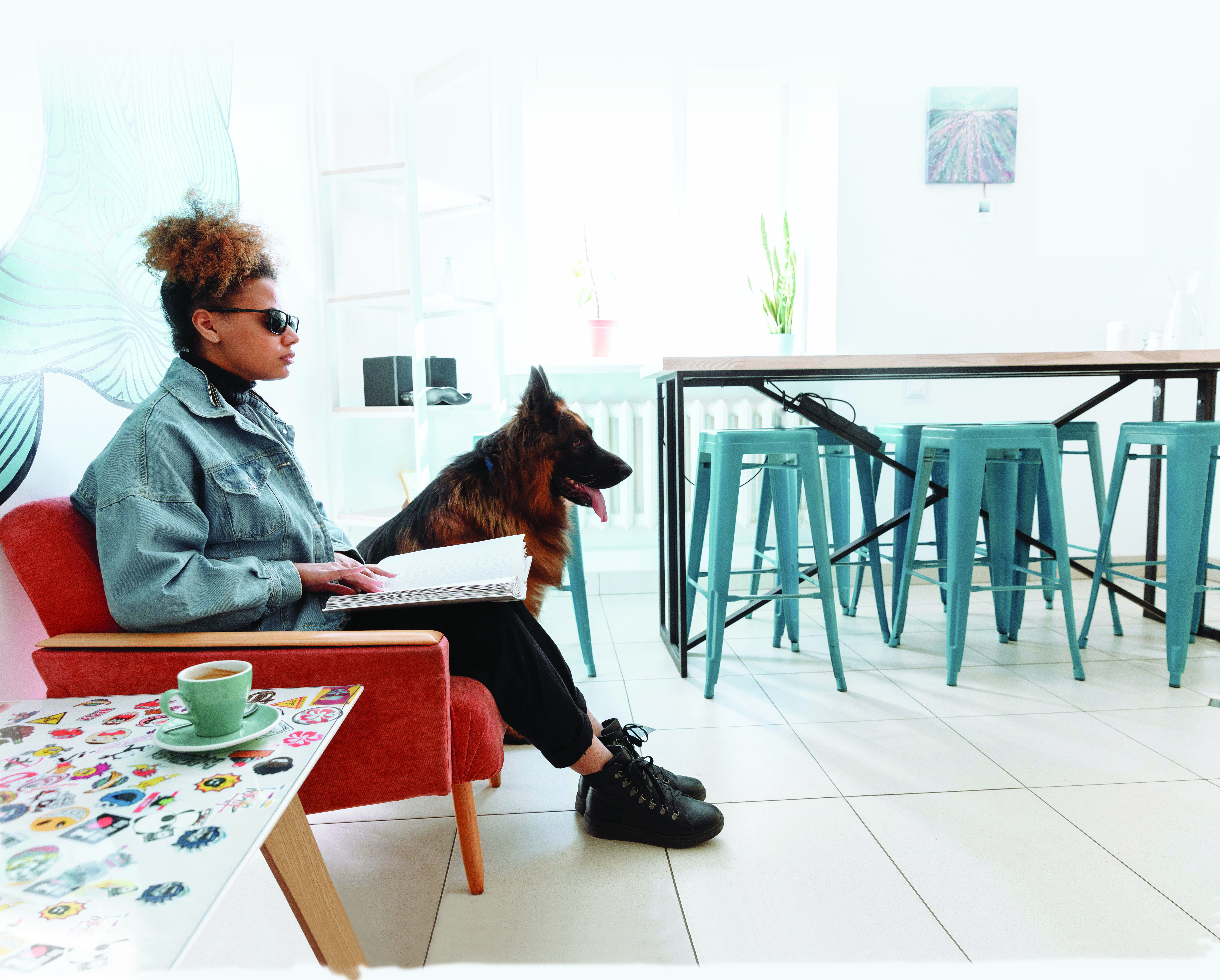Woman sitting on couch with guide dog