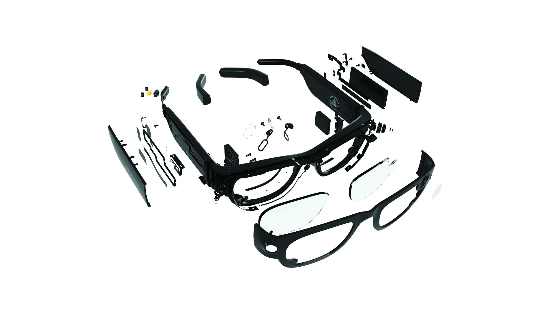 Project Aria glasses deconstructed to show each part